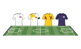 Tshirts das equipes de futebol ilustração do vetor