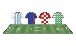 Tshirts för fotbolllag royaltyfri illustrationer