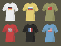 Tshirts with flags 2 Stock Photos