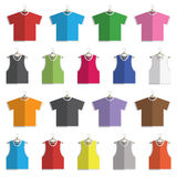 Tshirts and vests. Collection of flat design round neck t-shirts and vests on hangers isolated on white, with transparencies Royalty Free Stock Images