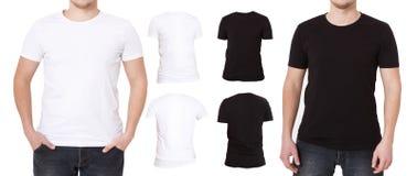 Tshirtuppsättning som isoleras på vit bakgrund Skjortor för tillbaka och främre sikt Mall-, mellanrumskopieringsutrymme och åtlöj royaltyfria foton