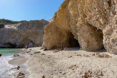 Tsigrado海滩, Melos,希腊 库存图片