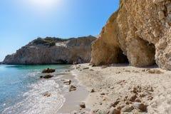 Tsigrado海滩, Melos,希腊 免版税图库摄影