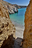 Tsigrado beach access. Milos. Cyclades islands. Greece. Milos or Melos is a volcanic Greek island in the Aegean Sea, just north of the Sea of Crete. Milos is the Royalty Free Stock Photos
