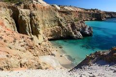 Tsigrado beach. Milos. Cyclades islands. Greece. Milos or Melos is a volcanic Greek island in the Aegean Sea, just north of the Sea of Crete. Milos is the Stock Photos