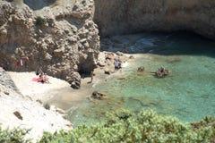 Tsigrado plaża w Milos wyspie w Grecja zdjęcia royalty free