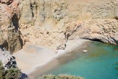Tsigrado plaża, Melos, Grecja Fotografia Stock