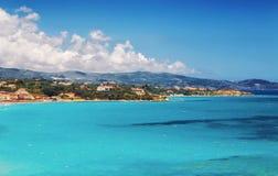 Tsilivi村庄和海滩在扎金索斯州海岛上 库存照片