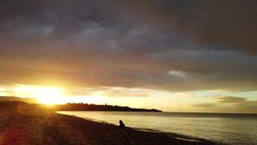 Tsilivi海滩在黄昏的Zante海岛 股票录像