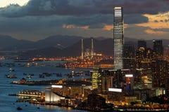 Tsim Sha Tsui香港在晚上 库存图片