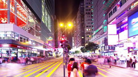 Tsim Sha Tsui. Hong Kong Night Timelapse. Still Wide Shot. City timelapse at night. Tsim Sha Tsui of Hong Kong. Corporate Buildings with commercial billboards stock video footage