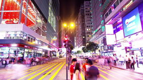 Tsim Sha Tsui. Hong Kong Night Timelapse. Tight Zooming In shot. City timelapse at night. Tsim Sha Tsui of Hong Kong. Corporate Buildings with commercial stock video footage