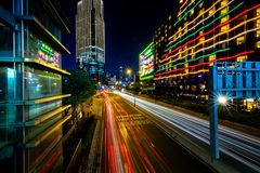 Hong Kong Business District at Night with Light Track royalty free stock photos