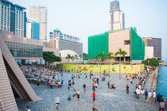 Tsim Sha Tsui, Hong Kong - September 23, 2016 :Tourists relaxing Stock Images