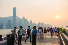 Tsim Sha Tsui, Hong Kong - September 23, 2016 :Tourists relaxing Royalty Free Stock Photos