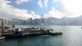Tsim Sha Tsui Star Ferry Pier with blue sky in Hong Kong stock video