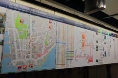Tsim Sha Tsui station Hong Kong subway metro map Royalty Free Stock Photo