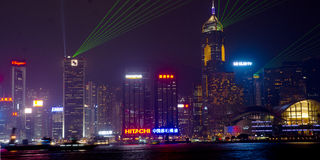 Tsim Sha Tsui and Victoria Harbor. Victoria Harbor from Tsim Sha Tsui, Night, Display of Lights Stock Photography