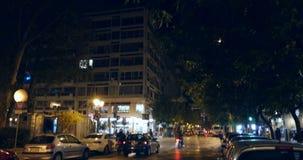 Tsimiski Street at night. THESALLONIKI, GREECE - CIRCA 2015:  Tsimiski Street at night in  It is a major avenue in Thessaloniki, the second-largest city Greece stock footage