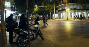 Tsimiski Street at night stock video
