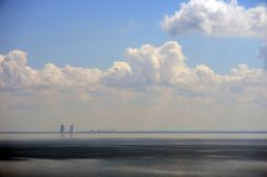 Tsimlyansk reservoir. View of the Rostov nuclear power plant. Royalty Free Stock Images