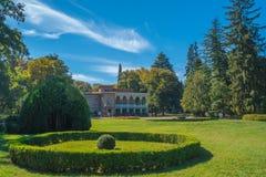 Tsinandali,乔治亚- 30/09/2018 :Tsinandali宫殿和庭院, 免版税库存图片