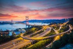 Tsing MA Brücke, Hong Kong Stockbild
