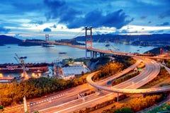 Tsing Ma Bridge. Hong Kong royalty free stock images