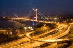 Tsing Ma Bridge. Night view Stock Images