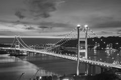 Tsing Ma Bridge en la ciudad de Hong Kong Foto de archivo libre de regalías