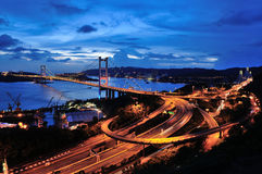 Tsing Ma Bridge fisheye Royaltyfria Foton