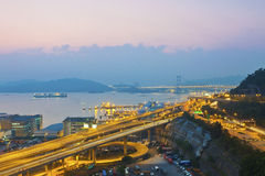 Tsing Ma Bridge and highway scene in Hong Kong Royalty Free Stock Photos