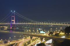 Tsing Ma Bridge and highway scene in Hong Kong Royalty Free Stock Image