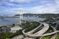 Tsing Ma Bridge in Hong Kong Stock Photo