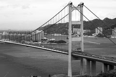 Tsing Ma Bridge in Hong Kong. Stock Images