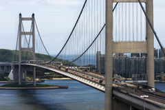 Tsing Ma Bridge in Hong Kong Stock Photos