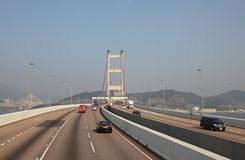 Tsing Ma bridge in Hong Kong Stock Images