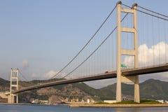Tsing Ma Bridge Hong Kong. Tsing Ma Bridge in Hong Kong at sunset royalty free stock images