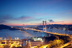 Tsing Ma Bridge in Hong Kong. Royalty Free Stock Image