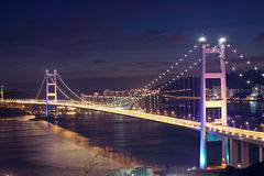 Tsing Ma Bridge in Hong Kong. Royalty Free Stock Images