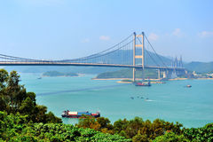 Tsing Ma Bridge in Hong Kong Royalty Free Stock Photo