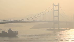 Tsing Ma Bridge in Hong Kong. China. Tsing Ma is the world's ninth-longest span suspension bridge stock footage