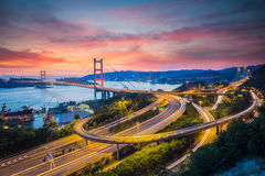 Tsing Ma Bridge, Hong Kong. Stock Image