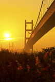 Tsing Ma Bridge in Hong Kong at sunset Royalty Free Stock Images