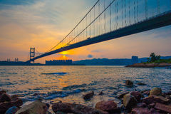 Tsing Ma Bridge of Hong Kong at Sunset Royalty Free Stock Photos