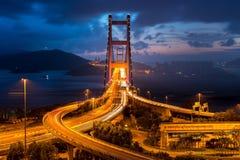Tsing Ma Bridge in Hong Kong Stock Image