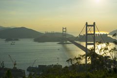 Tsing Ma Bridge. Is a bridge in Hong Kong. It is the world`s 11-longest span suspension bridge, and was the second longest at time of completion.The bridge was Royalty Free Stock Photo
