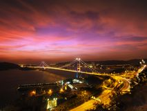 Tsing Ma Bridge. Is a bridge in Hong Kong. It is the world`s 11th-longest span suspension bridge, and was the second longest at time of completion Stock Images