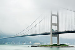 Tsing ma bridge in mist Stock Photos