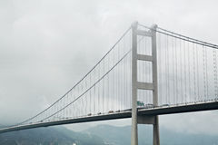 Tsing ma bridge in mist Royalty Free Stock Image